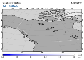 OMI - Cloud cover fraction of 01 April 2019