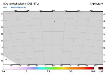 OMI - SO2 vertical column of 01 April 2019