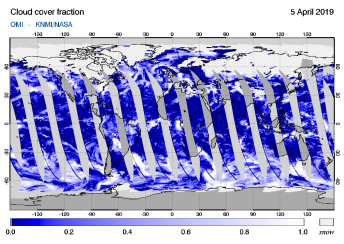 OMI - Cloud cover fraction of 05 April 2019