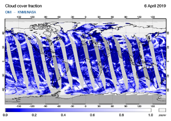 OMI - Cloud cover fraction of 06 April 2019
