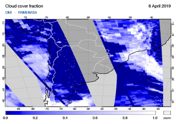 OMI - Cloud cover fraction of 08 April 2019