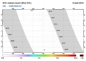 OMI - SO2 vertical column of 08 April 2019