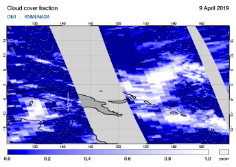 OMI - Cloud cover fraction of 09 April 2019