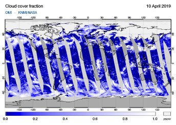 OMI - Cloud cover fraction of 10 April 2019