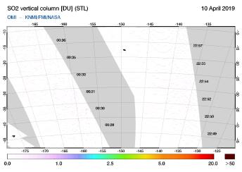 OMI - SO2 vertical column of 10 April 2019