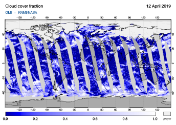 OMI - Cloud cover fraction of 12 April 2019