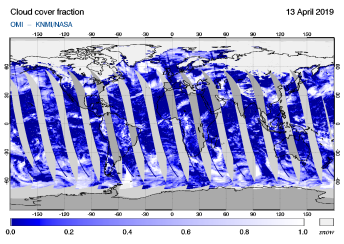 OMI - Cloud cover fraction of 13 April 2019