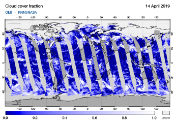 OMI - Cloud cover fraction of 14 April 2019