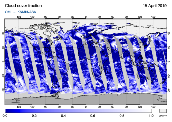 OMI - Cloud cover fraction of 15 April 2019
