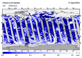 OMI - Cloud cover fraction of 17 April 2019