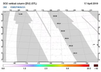 OMI - SO2 vertical column of 17 April 2019