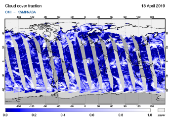 OMI - Cloud cover fraction of 18 April 2019