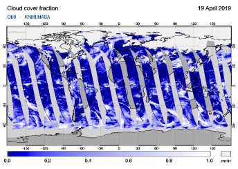 OMI - Cloud cover fraction of 19 April 2019