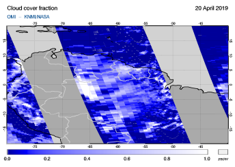 OMI - Cloud cover fraction of 20 April 2019