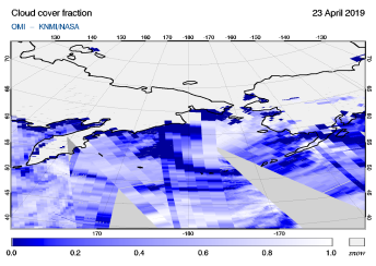 OMI - Cloud cover fraction of 23 April 2019