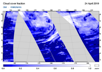 OMI - Cloud cover fraction of 24 April 2019