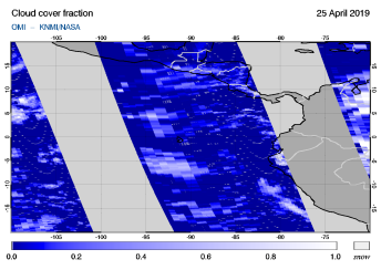 OMI - Cloud cover fraction of 25 April 2019