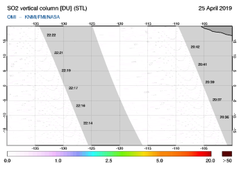 OMI - SO2 vertical column of 25 April 2019