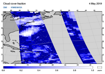 OMI - Cloud cover fraction of 04 May 2019