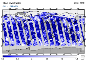 OMI - Cloud cover fraction of 05 May 2019