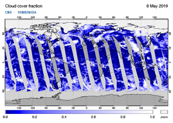 OMI - Cloud cover fraction of 06 May 2019