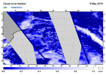 OMI - Cloud cover fraction of 09 May 2019