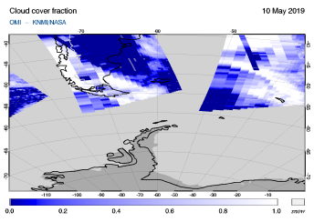 OMI - Cloud cover fraction of 10 May 2019