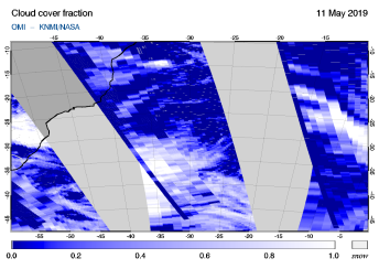 OMI - Cloud cover fraction of 11 May 2019