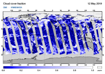 OMI - Cloud cover fraction of 12 May 2019