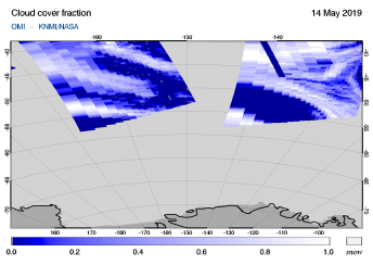 OMI - Cloud cover fraction of 14 May 2019