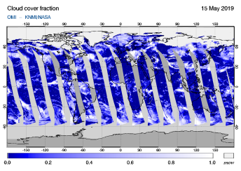 OMI - Cloud cover fraction of 15 May 2019