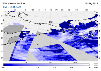 OMI - Cloud cover fraction of 16 May 2019