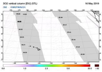 OMI - SO2 vertical column of 16 May 2019