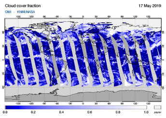 OMI - Cloud cover fraction of 17 May 2019