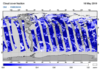 OMI - Cloud cover fraction of 18 May 2019
