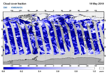 OMI - Cloud cover fraction of 19 May 2019