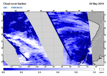 OMI - Cloud cover fraction of 20 May 2019