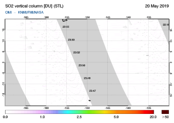 OMI - SO2 vertical column of 20 May 2019