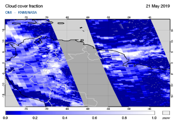 OMI - Cloud cover fraction of 21 May 2019