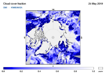OMI - Cloud cover fraction of 25 May 2019