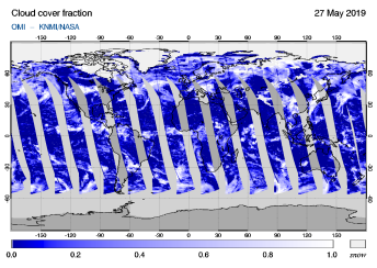 OMI - Cloud cover fraction of 27 May 2019