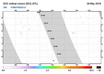 OMI - SO2 vertical column of 29 May 2019