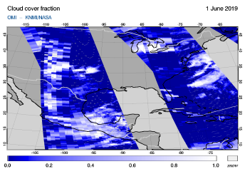 OMI - Cloud cover fraction of 01 June 2019