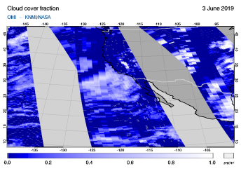 OMI - Cloud cover fraction of 03 June 2019