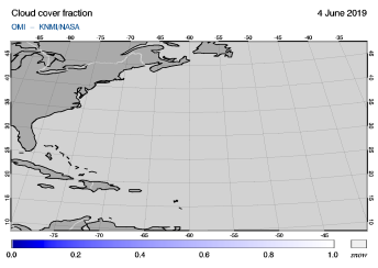 OMI - Cloud cover fraction of 04 June 2019