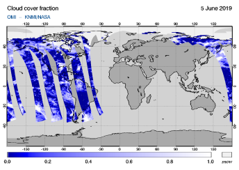 OMI - Cloud cover fraction of 05 June 2019