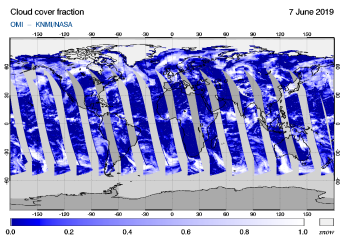 OMI - Cloud cover fraction of 07 June 2019