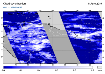 OMI - Cloud cover fraction of 08 June 2019