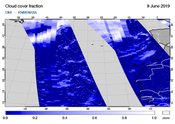 OMI - Cloud cover fraction of 09 June 2019