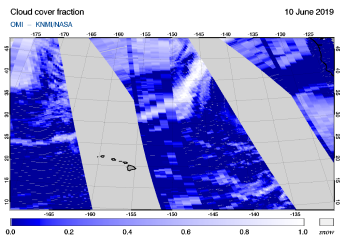 OMI - Cloud cover fraction of 10 June 2019